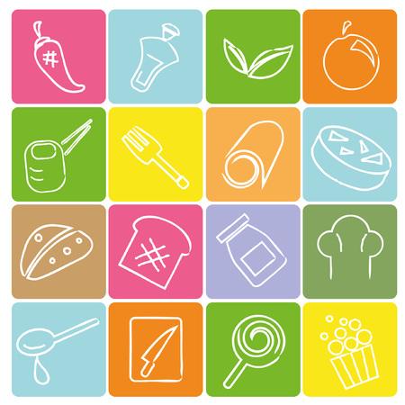 sketched icons: iconos ingrediente esbozado, el concepto de l�nea de l�piz Vectores