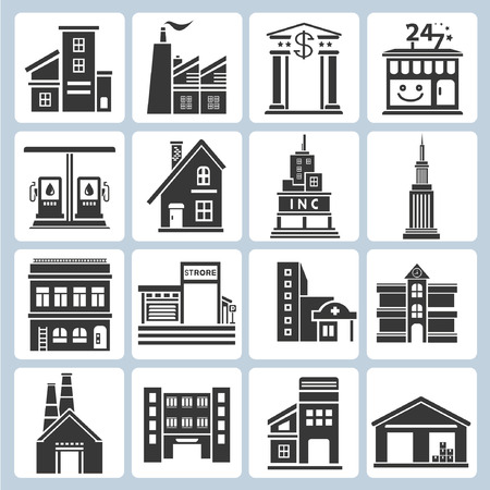épület: épület ikonok Illusztráció