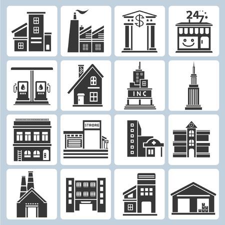 palazzo: costruzione icone Vettoriali