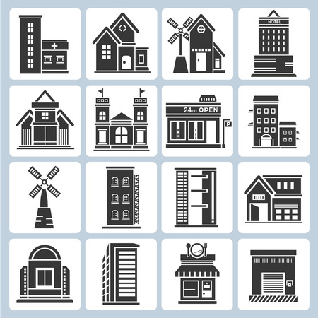 building icons Stock Vector - 23229129