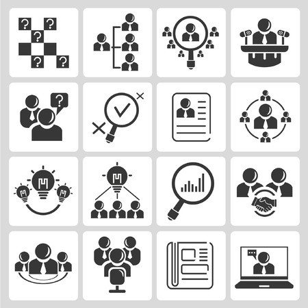human resource, business management icons Vector