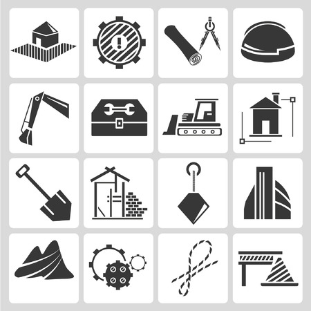 construction management icons Vector