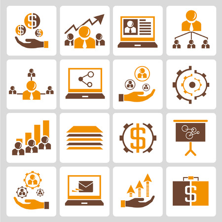human resource affairs: human resource, business management icons, orange color theme