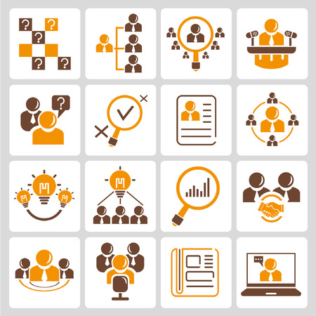 human resource, business management icons, orange color theme Vector