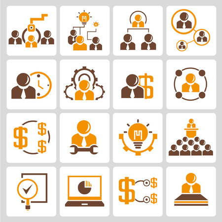 human resource management: human resource, business management icons, orange color theme