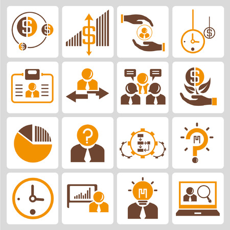 financial icon and investment icons, orange color theme Vector