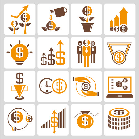 allocate: investment icons, orange color theme