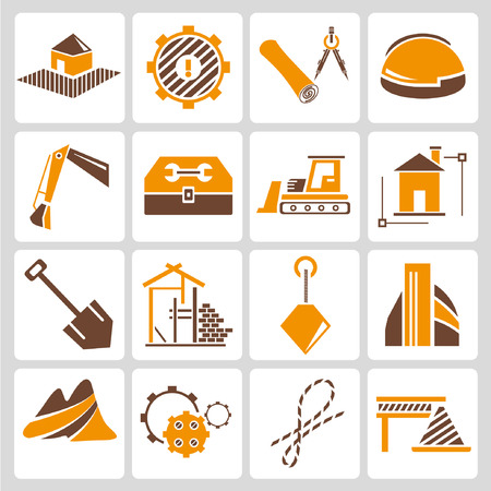 construction management: construction management icons, orange color theme