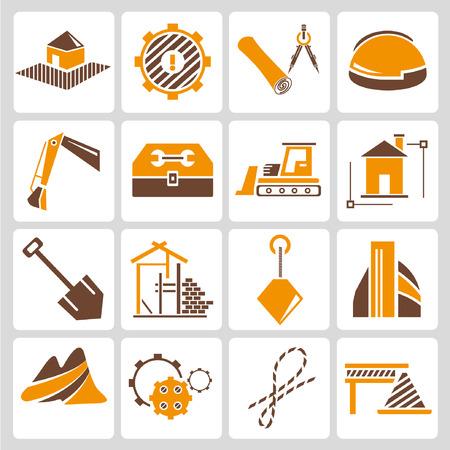 ingeniero civil: iconos de gestión de la construcción, tema de color naranja Vectores