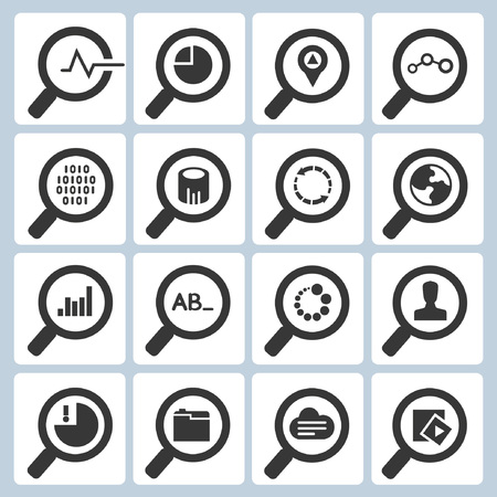 test glass: search icons, magnifying glass icons