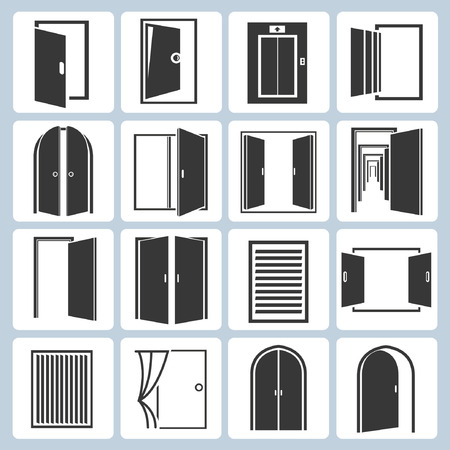 open gate: door icons set