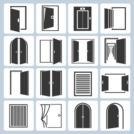abrir puertas: iconos puertas establecidos Vectores