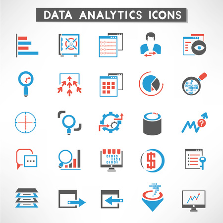 customer focus: data analytic icons set, data management buttons