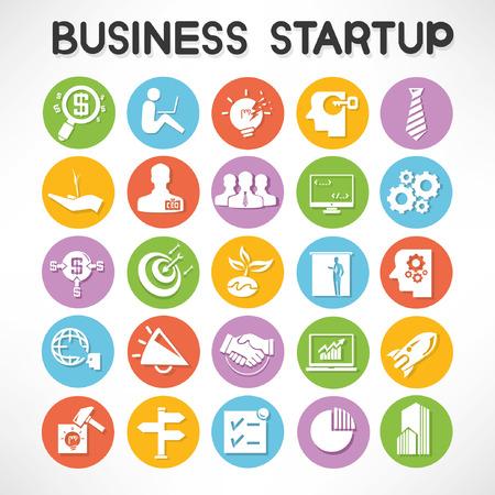 Start-up Unternehmen Tasten eingestellt Vektorgrafik