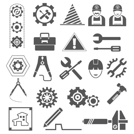 habiliment: engineering icons, gears, tools