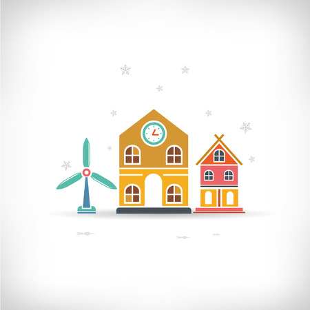 burgh: downtown, building background, Christmas concept