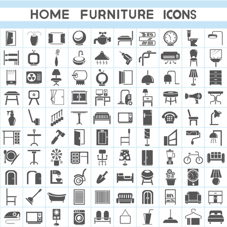 interior window: furniture icons set, interior design collections