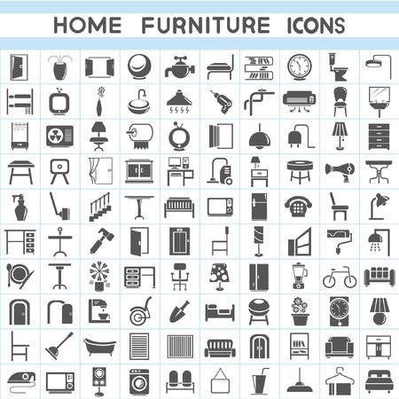 mobiliario oficina: iconos fijaron los muebles, colecciones de diseño de interiores