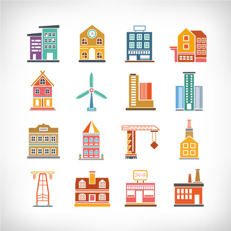 Cute collection of City, Town Buildings Vector