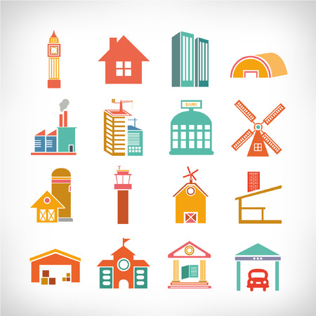 borough: Cute collection of City, Town Buildings