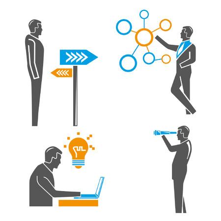 mensen uit het bedrijfsleven, zakelijke oplossing begrip Stock Illustratie