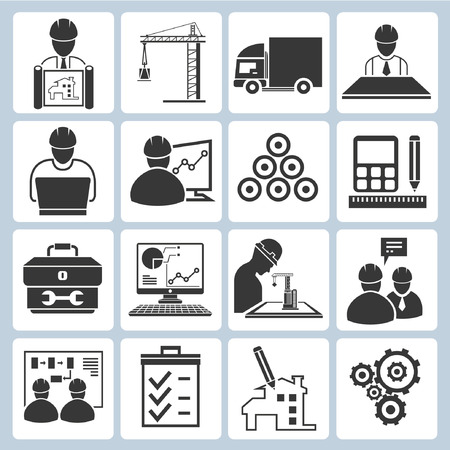 construction plans: project management icons, engineering icons