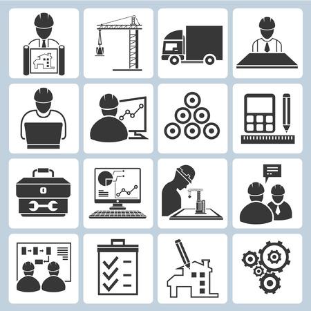ingenieurs: projectmanagement pictogrammen, engineering iconen