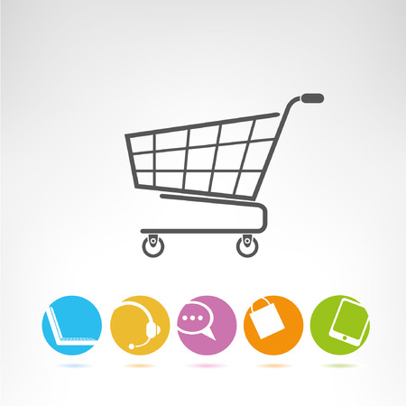 mobile shopping: shopping cart, e commerce buttons Illustration