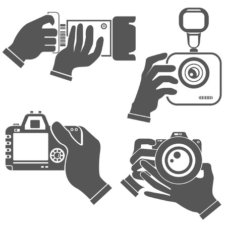hand holding camera Vector