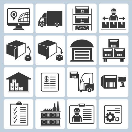 iconos de gestión de almacenes, iconos envío Ilustración de vector