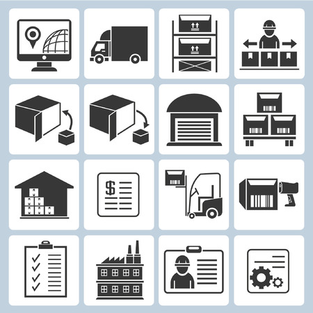 warehouse management icons, shipping icons Vector
