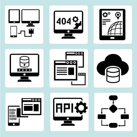 api: programming icons set, web developer icons Illustration