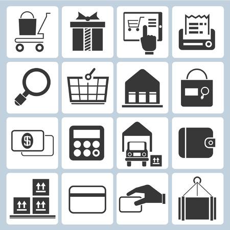 e commerce: e commerce iconen, winkelen pictogrammen