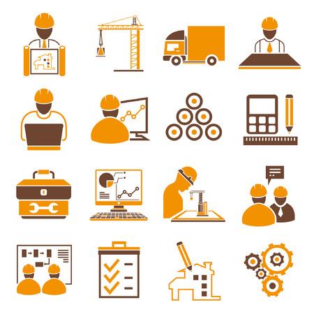 construction management: Icone di Ingegneria Gestionale, arancio tema