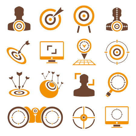 customer focus: dart, target icons, orange theme Illustration