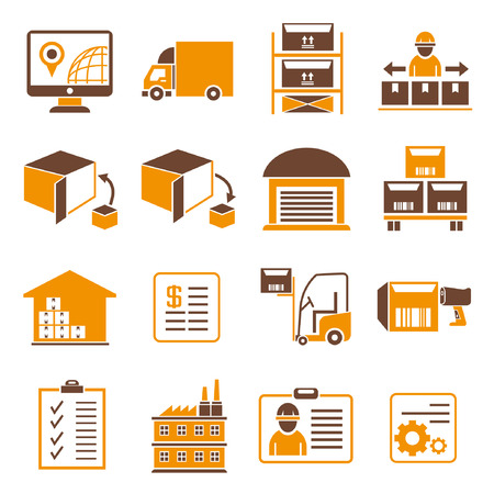 tracking: shipping management icons, orange theme