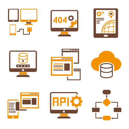 algorithm: programming icons, orange theme