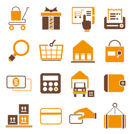 shopping icons, orange theme Vector