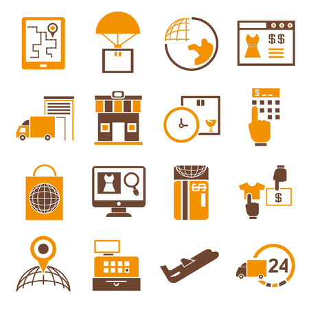 trade fair: business management icons, shipping icons orange theme