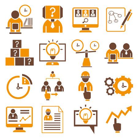business management icons, orange theme Stock Vector - 23521220