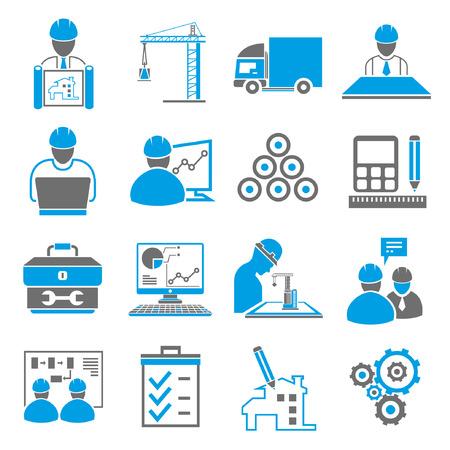 bouw, techniek iconen, blauw thema