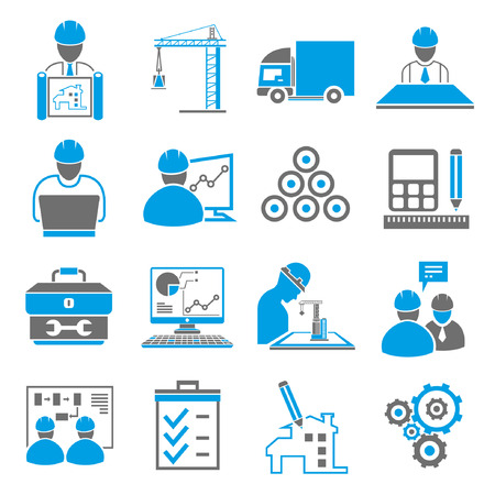 construction, engineering icons, blue theme Vector