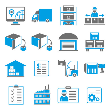 storehouse: iconos, iconos de env�o de gesti�n empresarial, tema azul