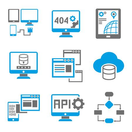 Icônes de programmation, thème bleu Banque d'images - 23521283