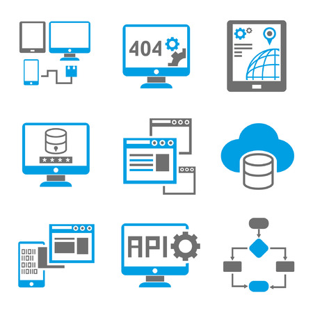 application software: programming icons, blue theme