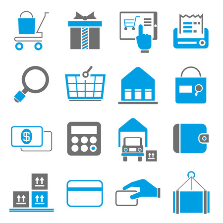 online trading: shopping icons, blue theme Illustration