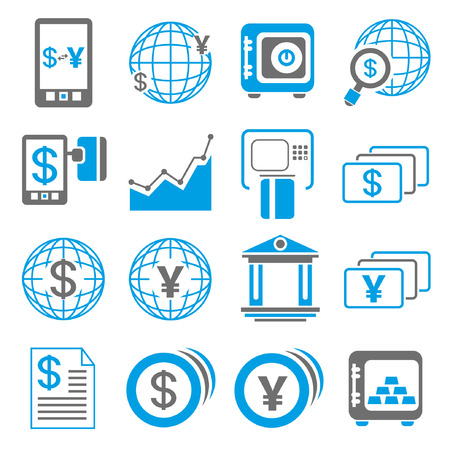 yuan: financial icons, blue theme Illustration