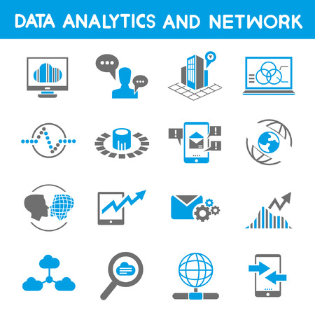 data analytic icons, blue theme Vector