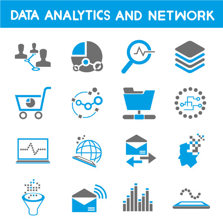 data analytic icons, blue theme Illustration