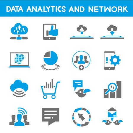 analytical: data analytic icons, blue theme Illustration